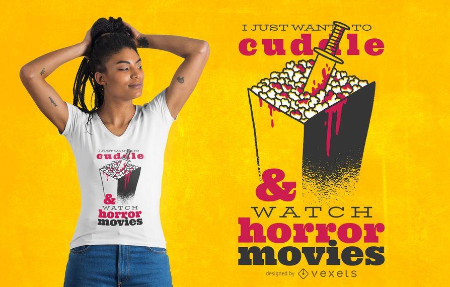 Diseño de camiseta de cita de película de terror