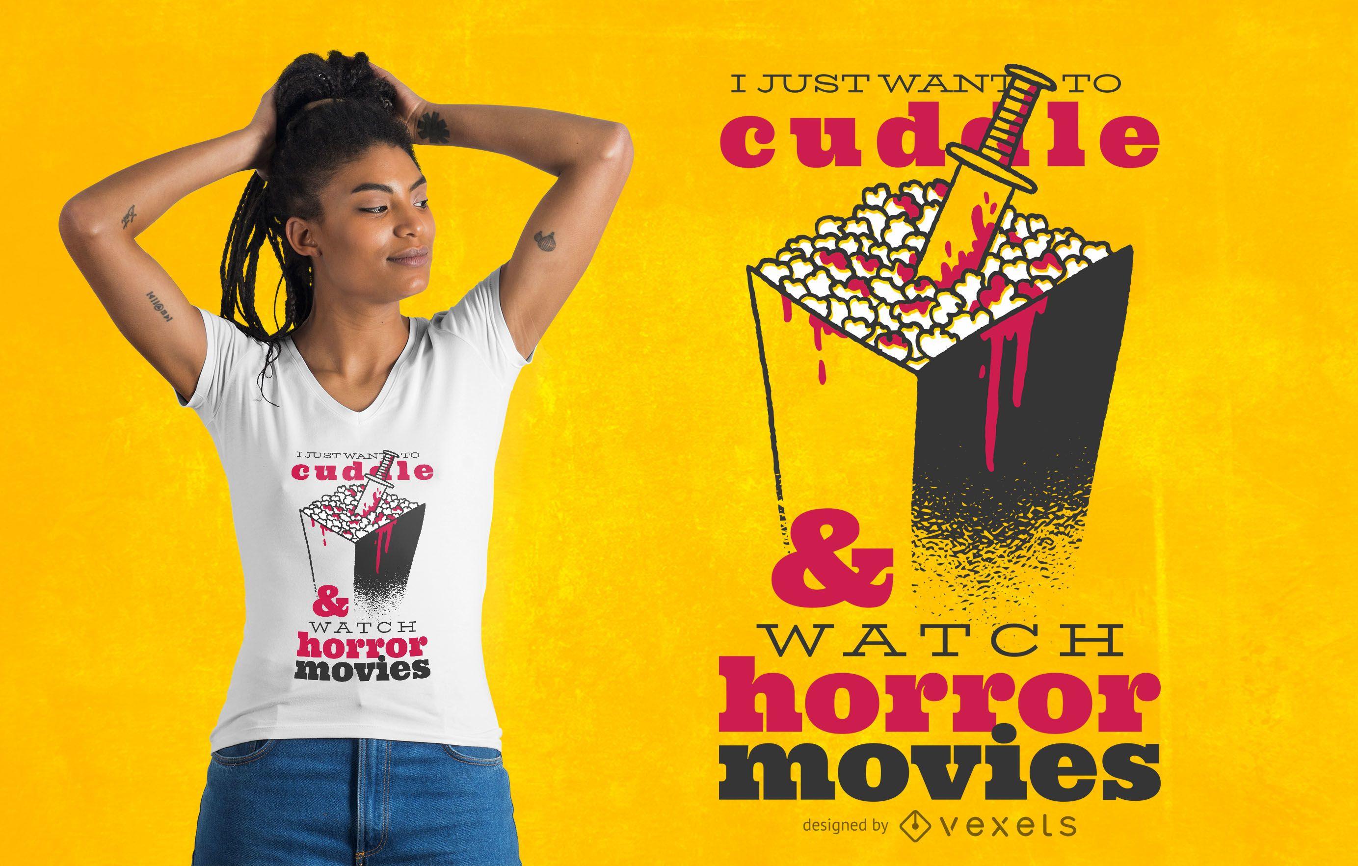 Design de camiseta com citação de filme de terror