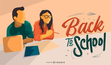 Volver a la escuela estudiantes diseño de banner