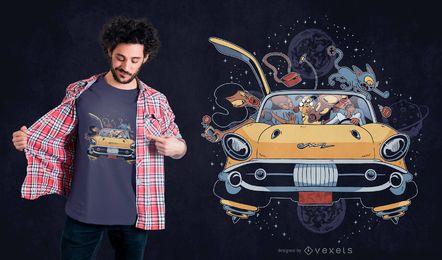 Design de t-shirt da família do espaço