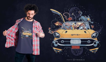 Raum-Familien-T-Shirt Entwurf