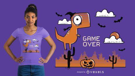 Design engraçado da camiseta do Dia das Bruxas do dinossauro