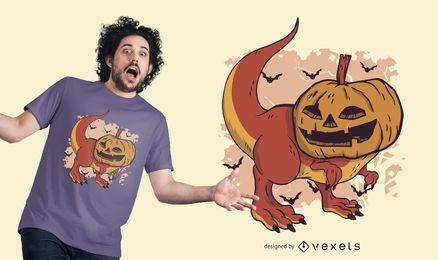 Diseño de camiseta de dinosaurio calabaza