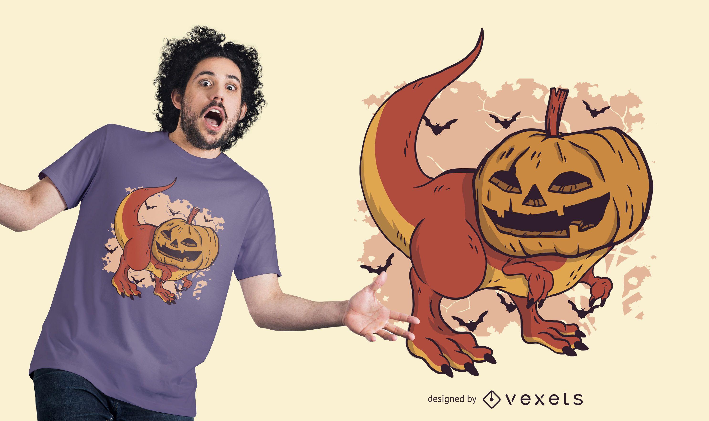 Pumpkin Dinosaur T-shirt Design