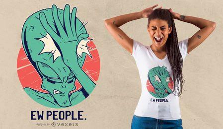 Diseño de camiseta Alien Facepalm