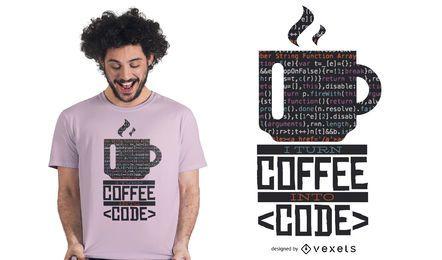 Projeto do t-shirt do café do colaborador