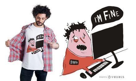 Diseño de camiseta de hombre estresado