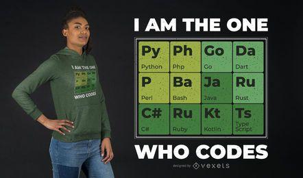 Design da camiseta da tabela periódica do desenvolvedor