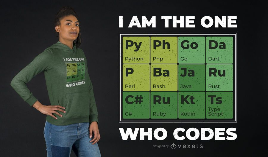 Diseño de camiseta de tabla periódica para desarrolladores