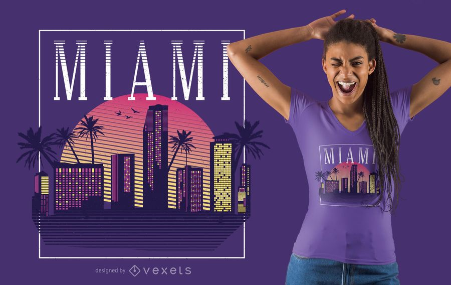 Diseño de camiseta Miami de estilo retro