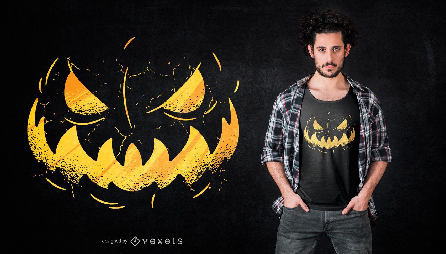 Design da camiseta do Jack o'Lantern Face
