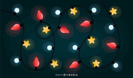 Christmas lights colorful background design