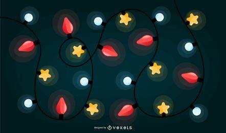 Desenho de fundo colorido de luzes de Natal