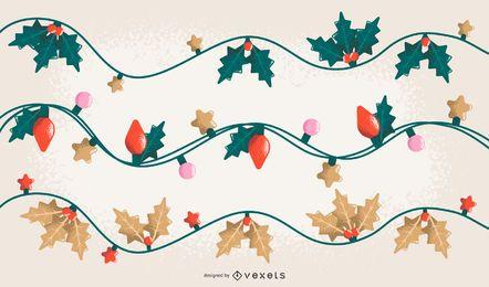 Fondo de muérdago de luces de Navidad