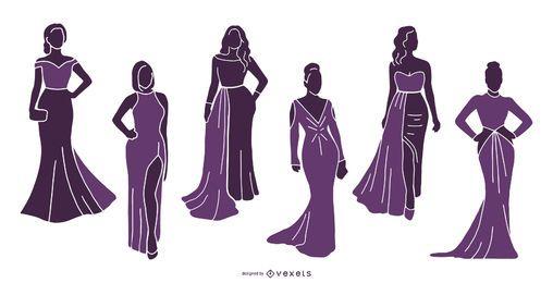 Conjunto de silhueta de modelos de mulheres