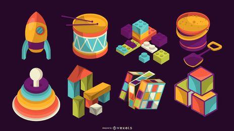Colección de iconos de juguete de vista isométrica