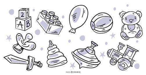 Pacote de elementos de brinquedo de design de traço