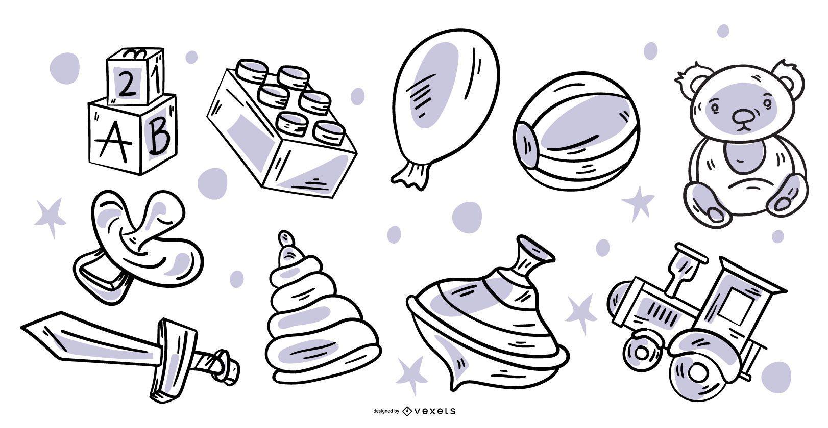 Paquete de elementos de juguete de diseño de trazos