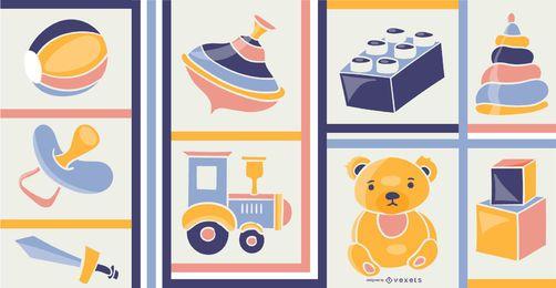 Composición de ilustración de elementos de juguete
