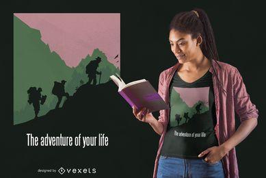 Diseño de camiseta de senderismo de aventura de vida.