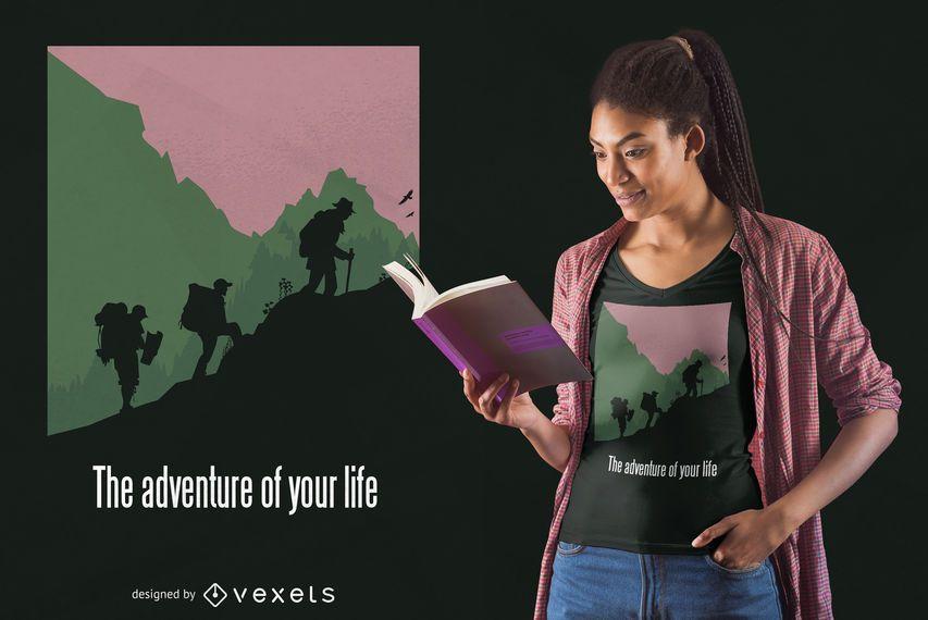 Aventura de vida caminhadas design de t-shirt