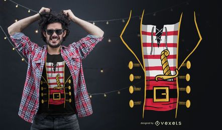 Diseño de camiseta de disfraz de pirata.