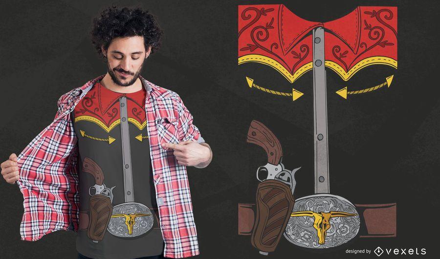 Diseño de camiseta de traje de vaquero