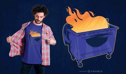 Diseño de camiseta de fuego de contenedor