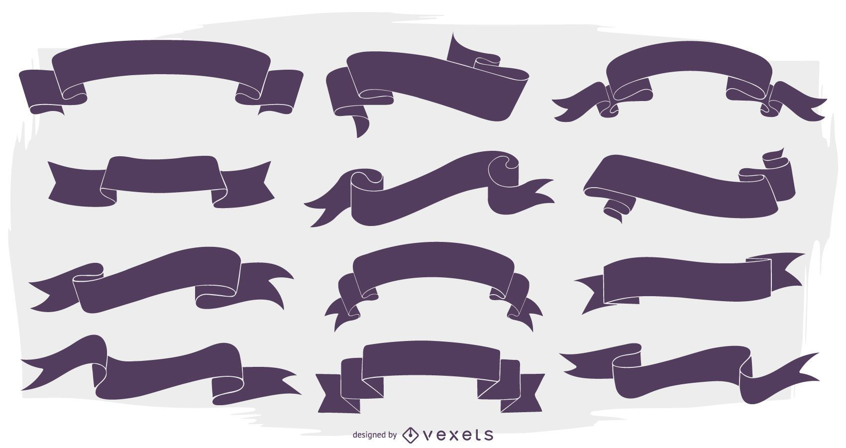 Ribbon Banner Silhouette Set Vector Download