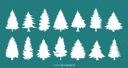 Conjunto de silhueta de árvores de Natal