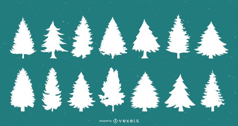 Conjunto de silueta de árboles de navidad
