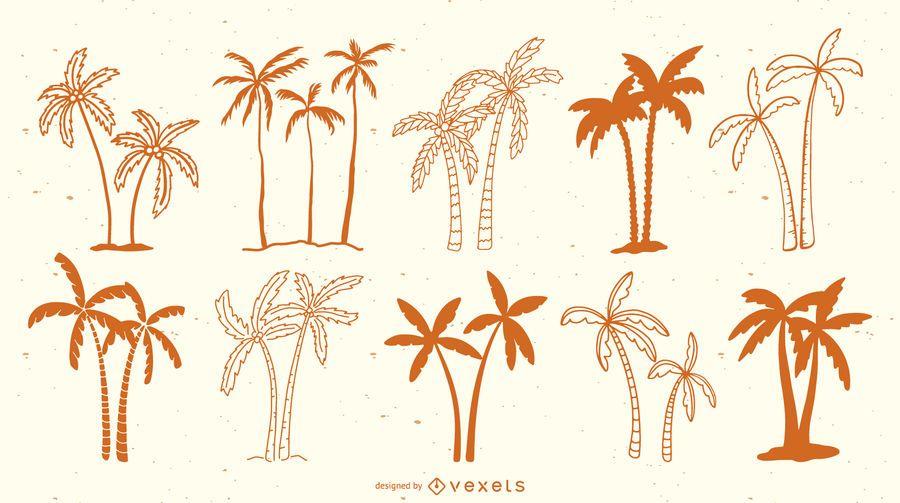 Doodle palms silhouette set