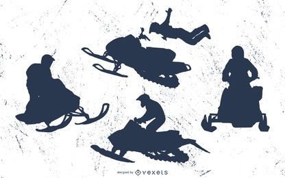 Conjunto de silueta de moto de nieve extrema
