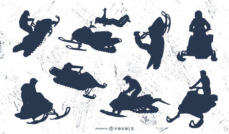 Extreme snowmobile silhouette set