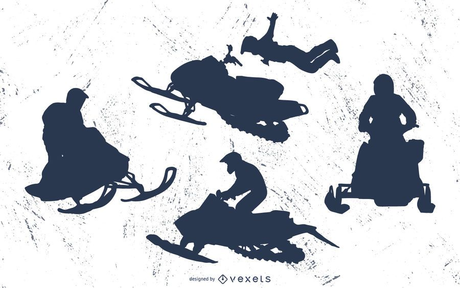 Extreme snowmobile silhouette set