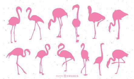 Conjunto de silhueta rosa flamingo