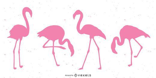 Flamingo pink silhouette set
