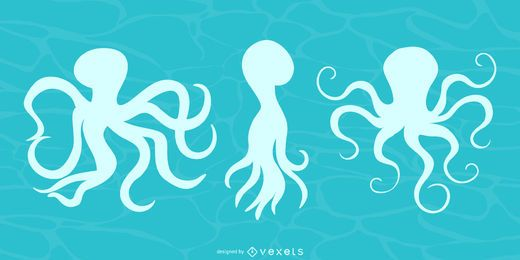Octopus silhouette set
