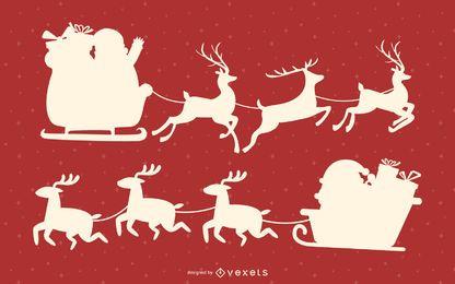 Conjunto de silhueta de trenó de Papai Noel