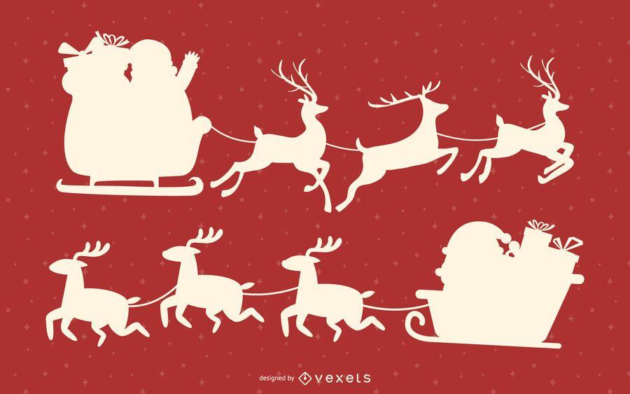 Santa sleigh silhouette set