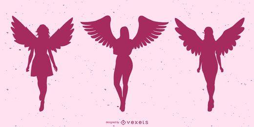 Conjunto de silueta de hermosos ángeles