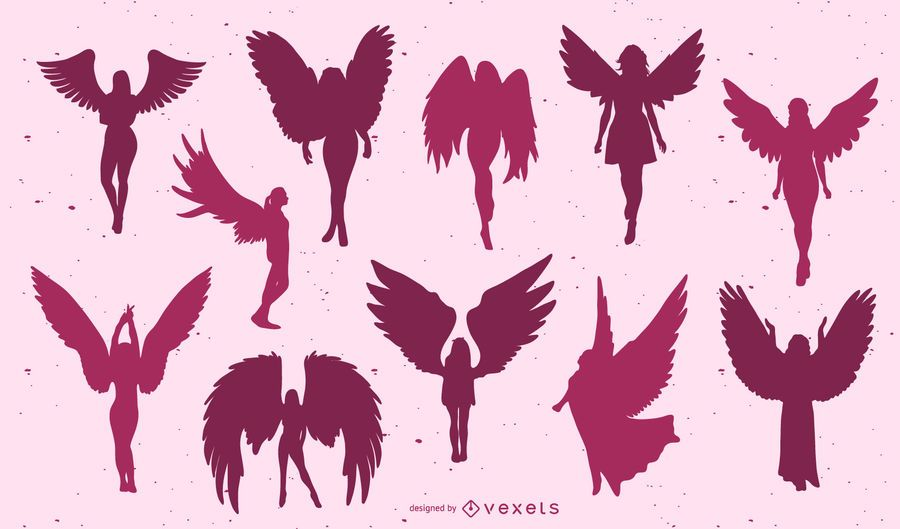 Beautiful angels silhouette set