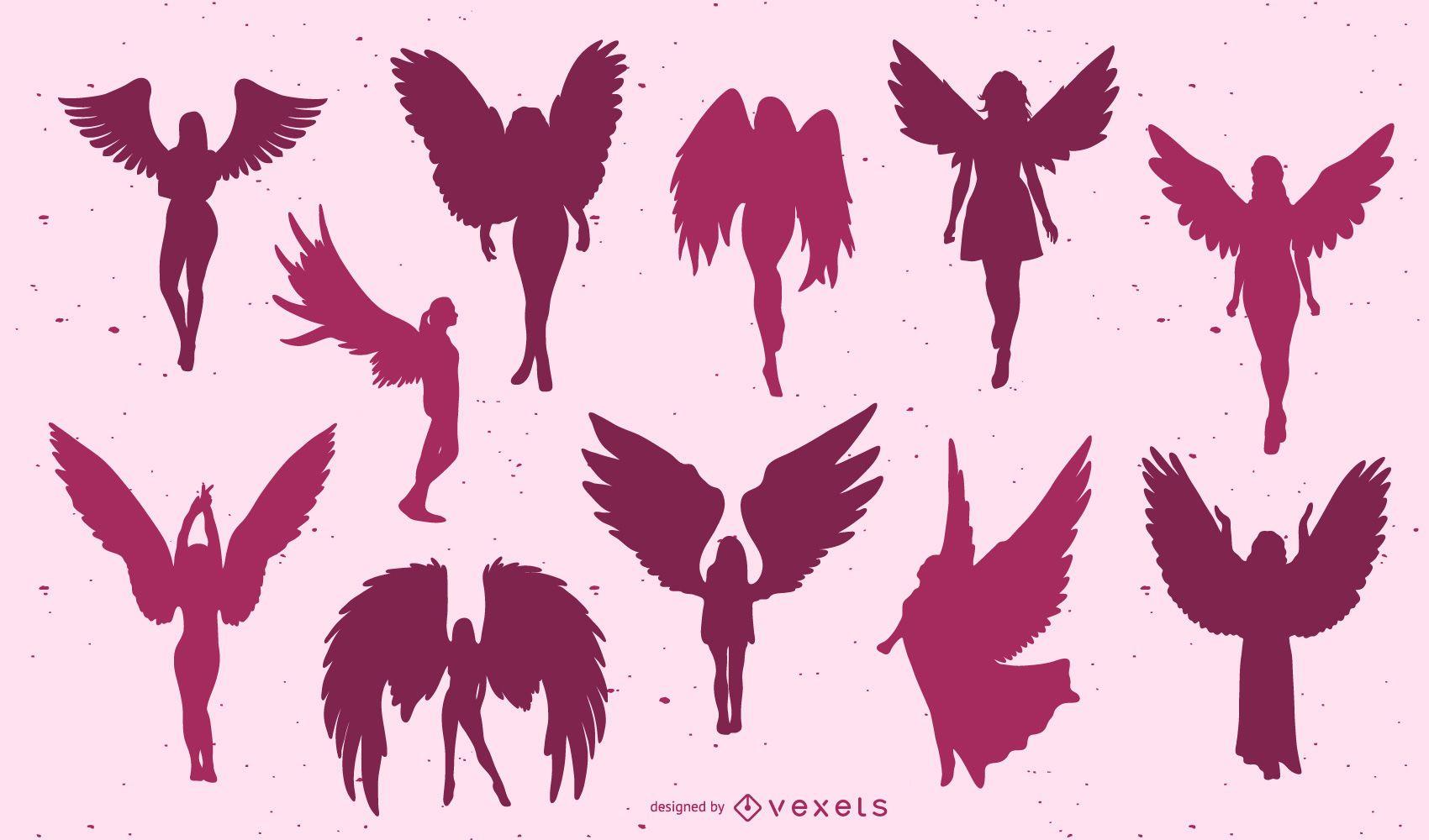 Beautiful angels silhouette set