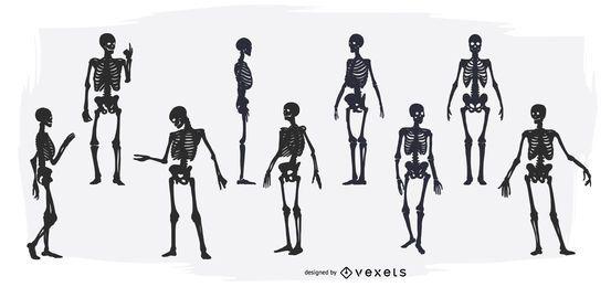 Conjunto de silhueta de esqueleto