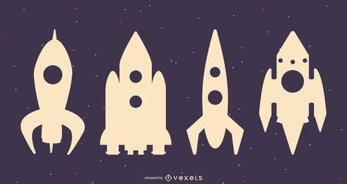 Conjunto de silhueta de naves espaciais