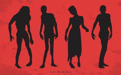 Zombie silhouette set