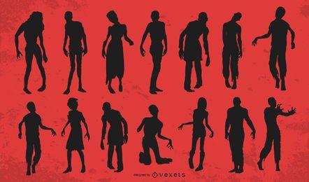 Conjunto de silueta de zombie