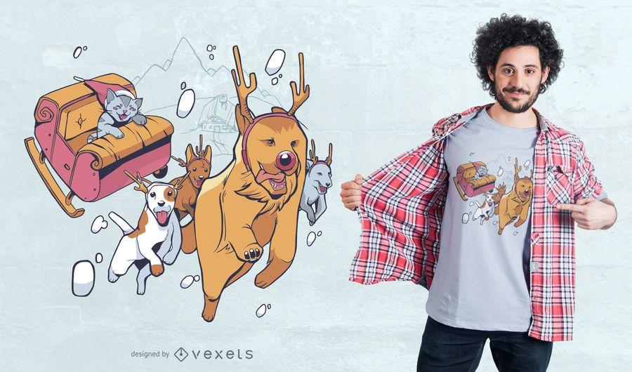 Diseño de camiseta de animales navideños