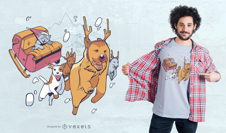 Christmas animals t-shirt design
