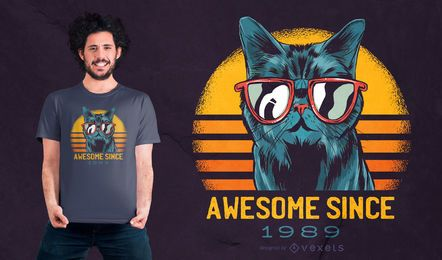 Design incrível de camiseta de gato
